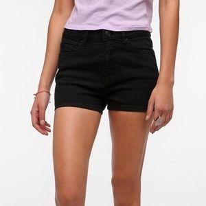 UO BDG Erin super high waisted black jean shorts